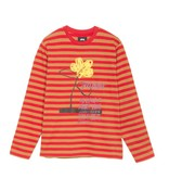Stussy Stussy Flower Stripe LS Crew Red