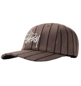 Stussy Stussy Big Logo Striped Cap Brown