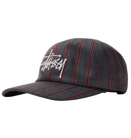 Stussy Big Logo Striped Cap Charcoal