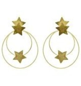 Sheila Fajl Cassiopeia Double Circle Star Hoops 2.5 Gold