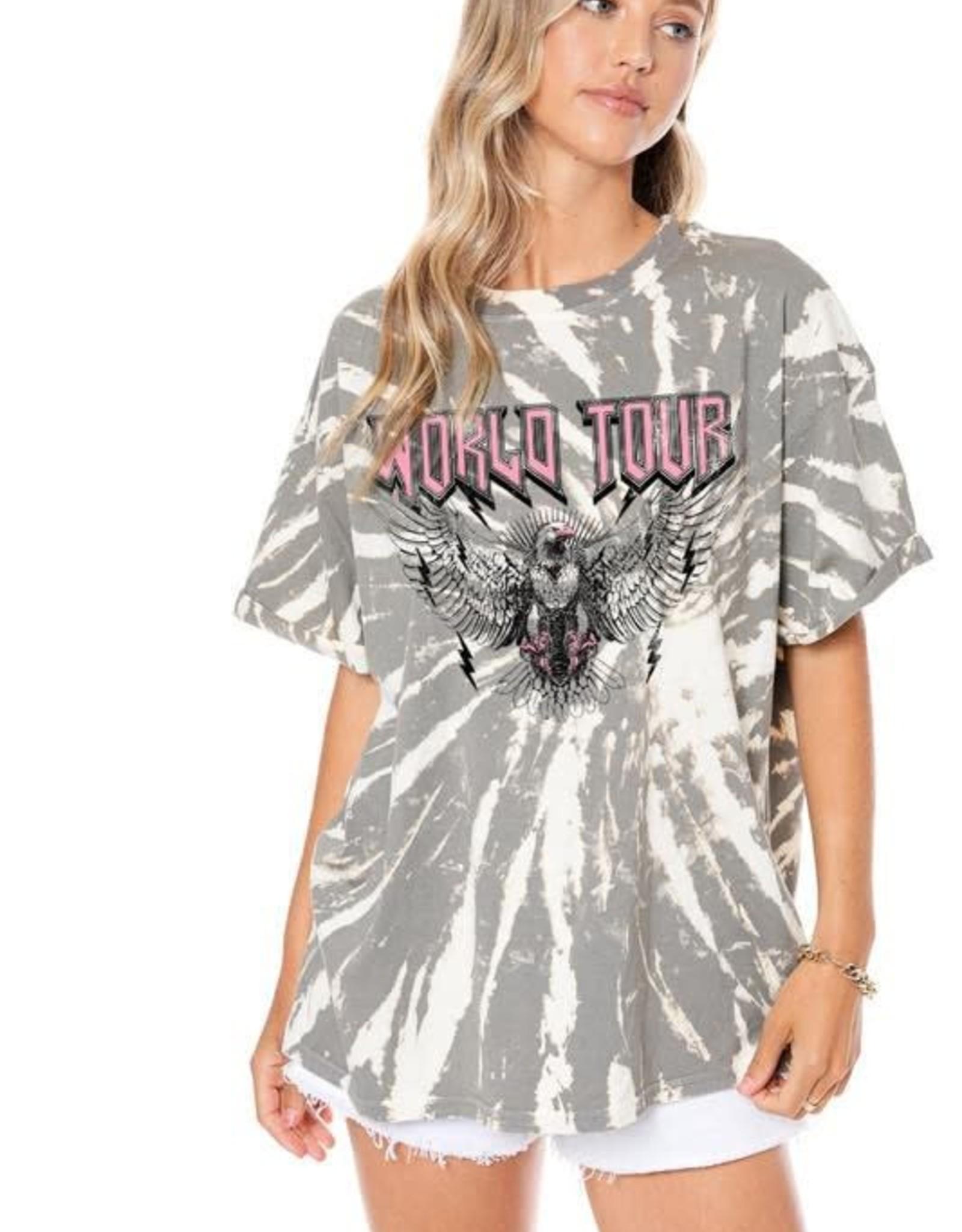 World Tour Eagle Graphic Tie Dye Top