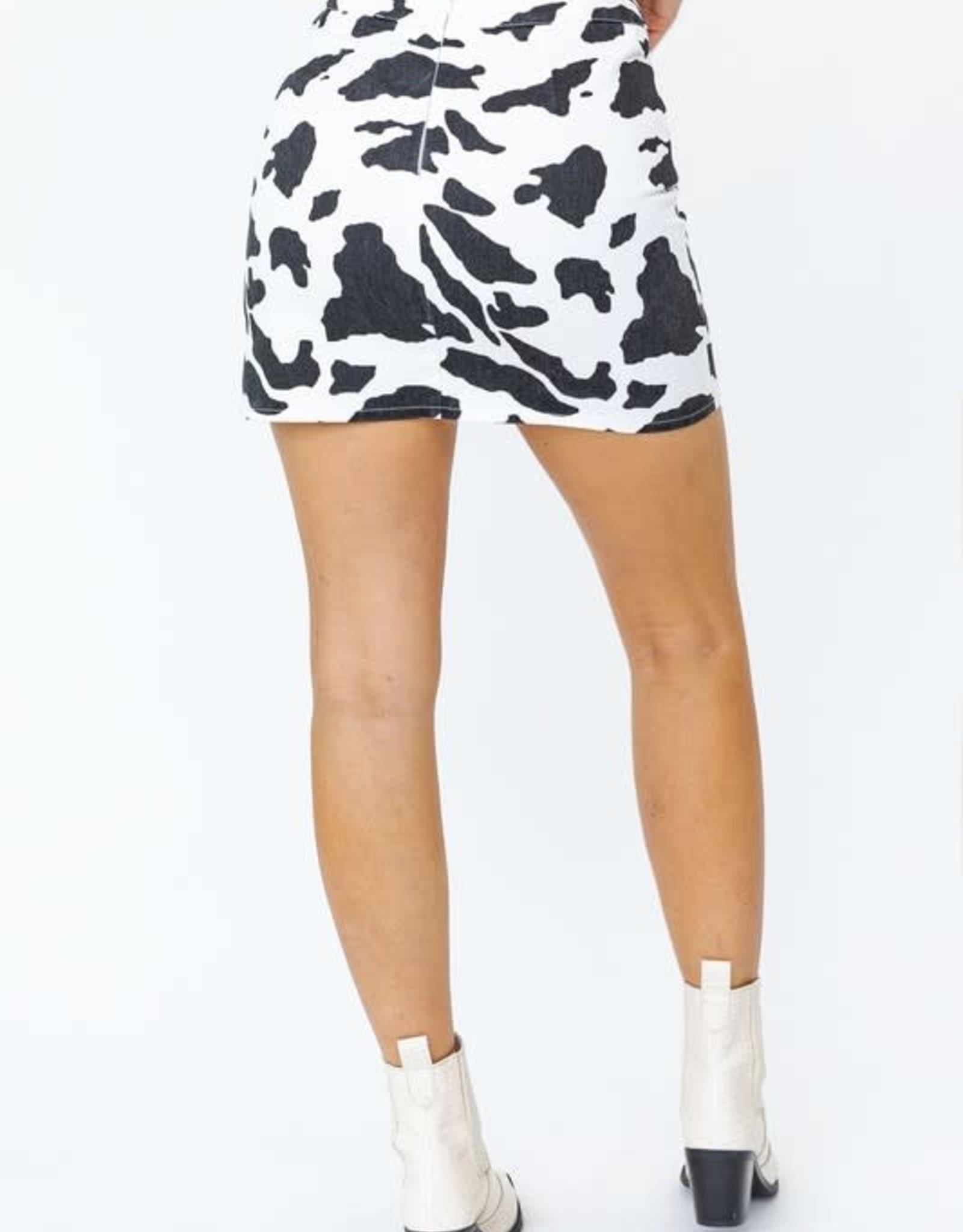 Cow Print Mini Skirt