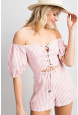 Little Miss Candy Striper Romper