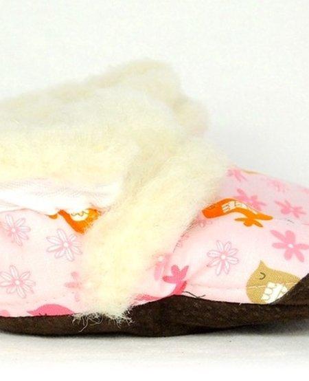 Pantoufles Petits Minous 100% Laine de Mouton<br />Rose Oiseaux