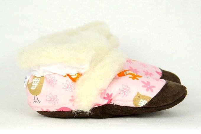 Pantoufles Petits Minous Pantoufles Petits Minous 100% Laine de Mouton<br />Rose Oiseaux