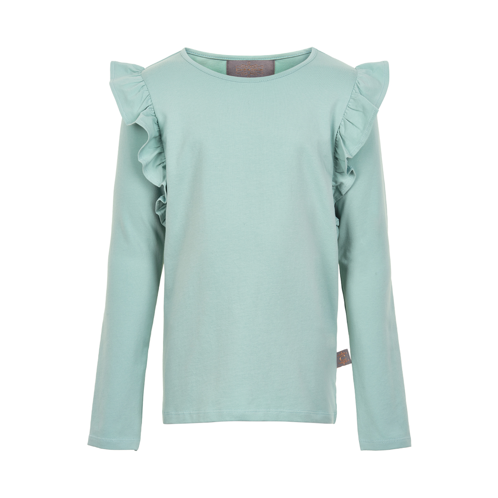 Creamie SS19 Chandail Turquoise Manches Longues à Volants - Creamie