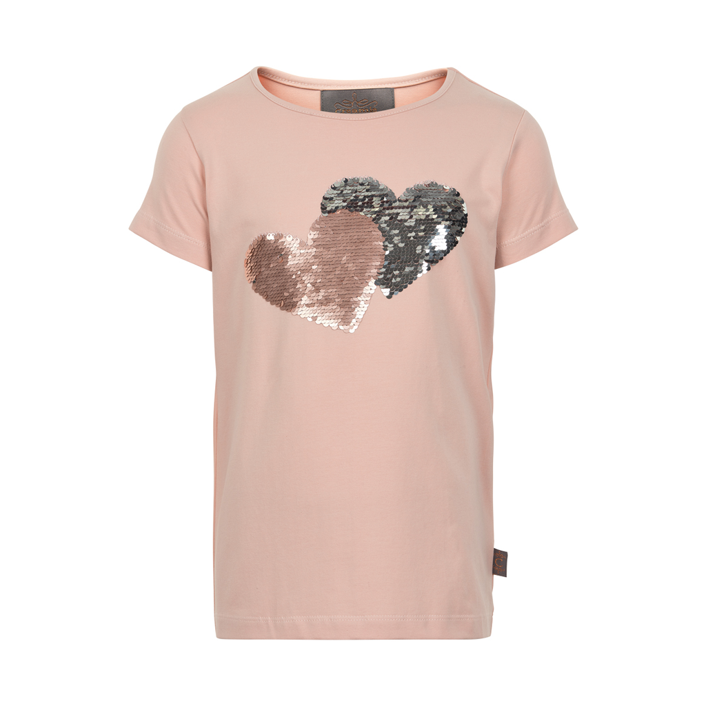 Creamie SS19 T-Shirt Manches Courtes, Coeur en Séquins - Creamie