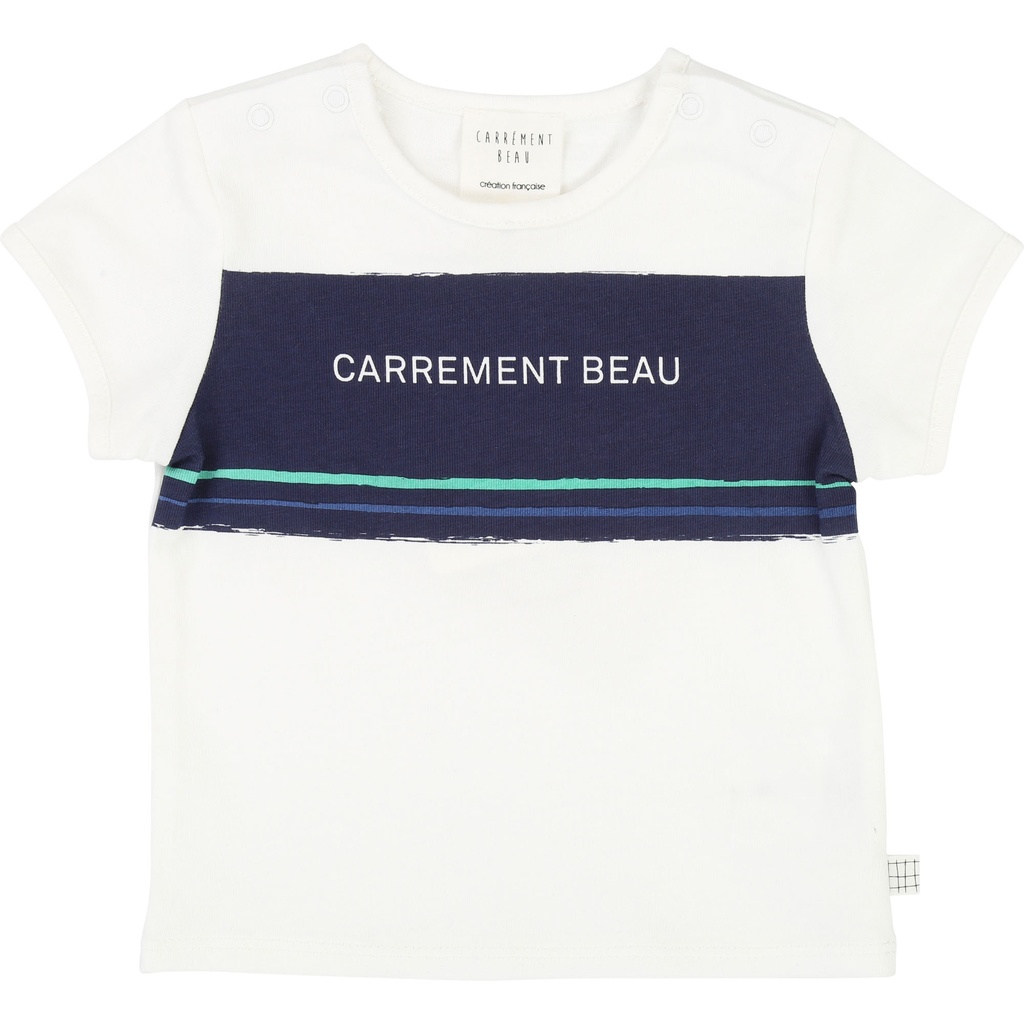 Carrément Beau SS19 T-Shirt Logo Bleu Marine - Carrément beau