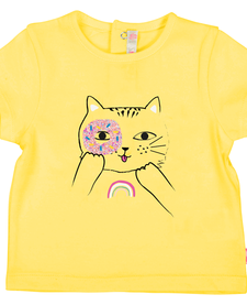 SS19 T-Shirt Jaune avec Chat - Billieblush