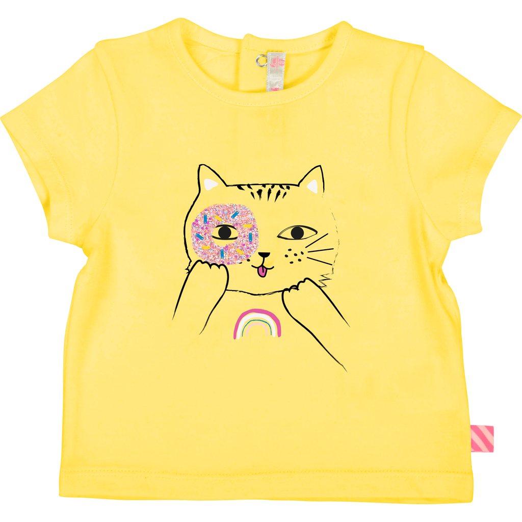 Billieblush SS19 T-Shirt Jaune avec Chat - Billieblush