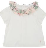 Carrément Beau SS19 T shirt Blanc col fleuri- Carrément beau