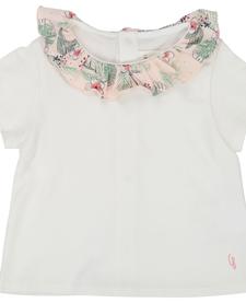 SS19 T shirt Blanc col fleuri- Carrément beau