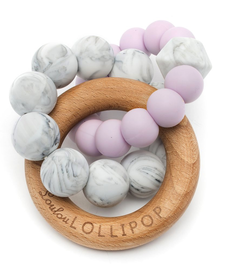Anneaux de Dentition en silicone et bois Mauve/ Lilac Silicone and Wood Teether de Loulou Lollipop
