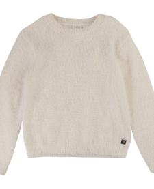 FW19 Pull en Tricot 100% Polyamide à Col Rond et Petite Médaille Siglée de la Marque de Carrément Beau - Winter Fluffy Sweater