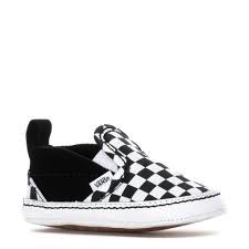 Vans FW19 Souliers Bébé Checkerboard Crib Vans B&W Slip-On