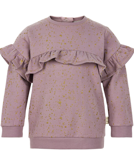 FW19 Pull Molleton à Manches Longues Tacheté Or Avec Volants Fantaisies de Creamie - Winter Sweat