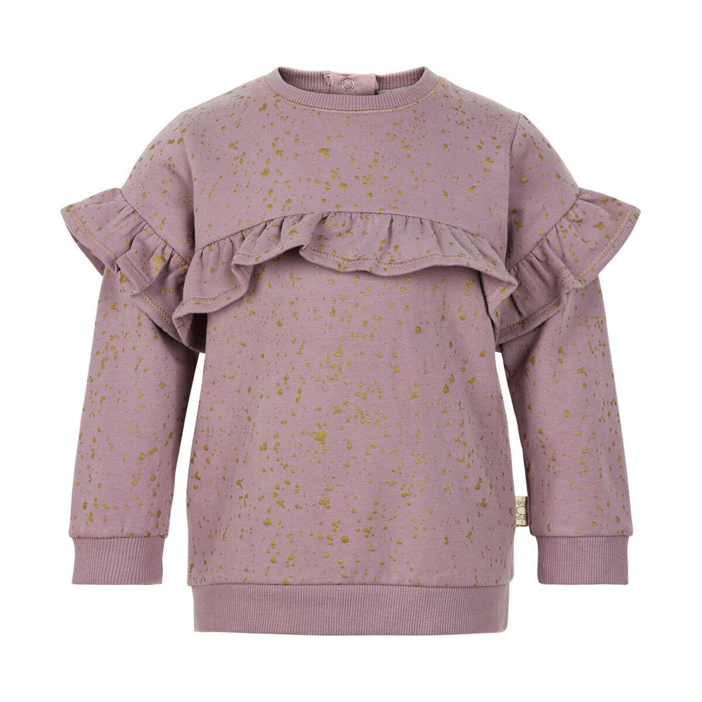 Creamie FW19 Pull Molleton à Manches Longues Tacheté Or Avec Volants Fantaisies de Creamie - Winter Sweat