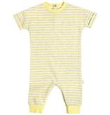 Miles Baby SS20 Combinaison à Manches Courtes Jaune Rayée Gris - Short Sleeves Jumpsuit Yellow