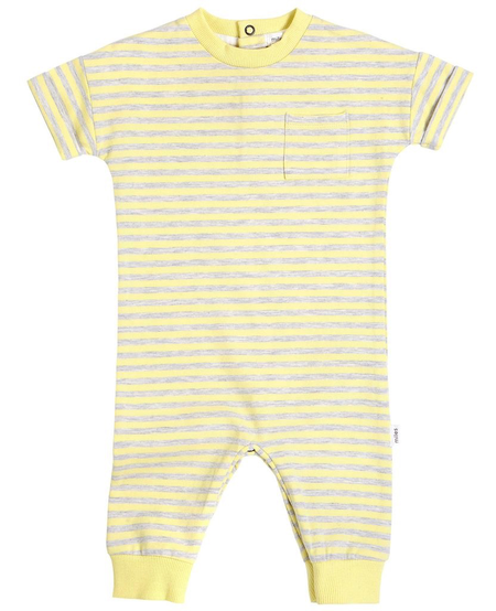 SS20 Combinaison à Manches Courtes Jaune Rayée Gris - Short Sleeves Jumpsuit Yellow