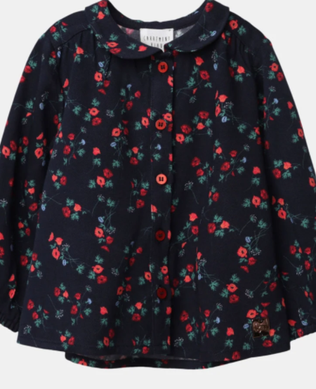 FW20 Chemisière bleu nuit a fleur rouge/night blue blouse with red flowers