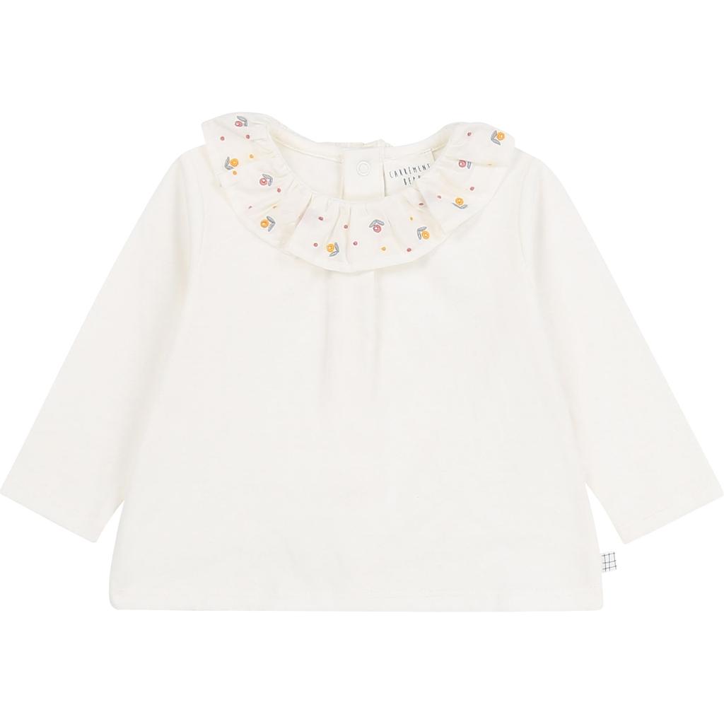 Carrément Beau FW20 Tee-shirt manches longues col fleurs crème/offwhite Long sleeves tee-shirt.