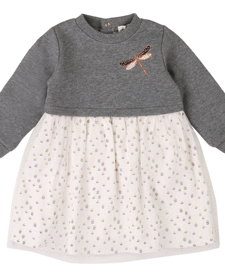 FW20 ROBE GRIS ÉCRU LIBELLULE/DRESS GREY TAN DRAGONFLY