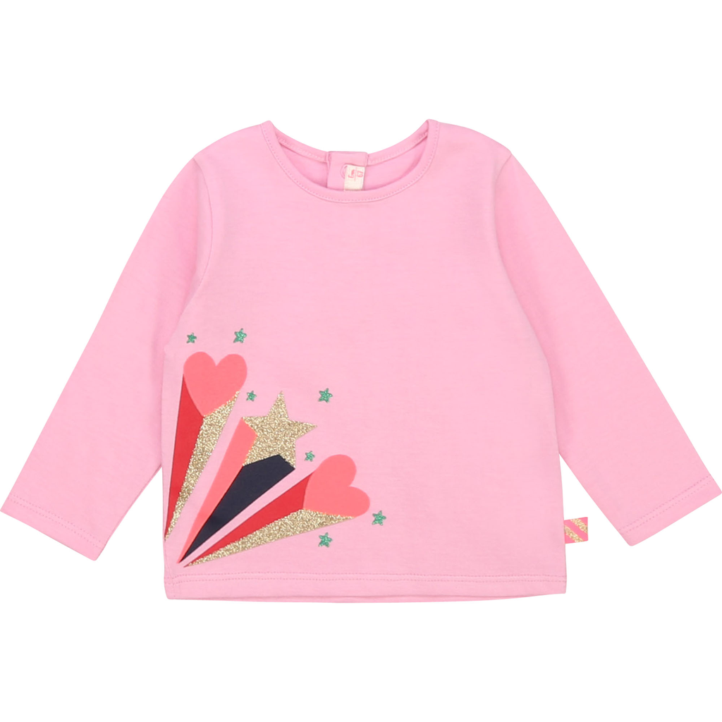 Billieblush FW20 Tee-shirt manches longues coeur,étoile rose/Pink long sleeves tee-shirt heart star