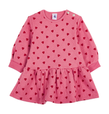 Petit Bateau FW20 Robe rose coeurs manches longues / Pink heart long sleeves dress