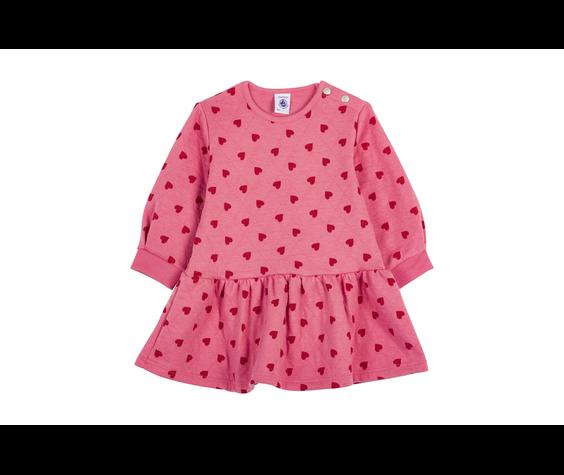 Petit Bateau FW20 Robe rose coeurs manches longues / Pink heart long sleeves dress