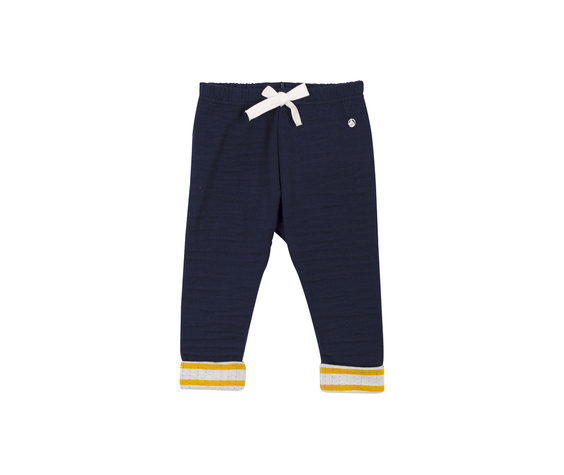 Petit Bateau FW Pantalon bleu bordure jaune/ blue trouser with yellow strips