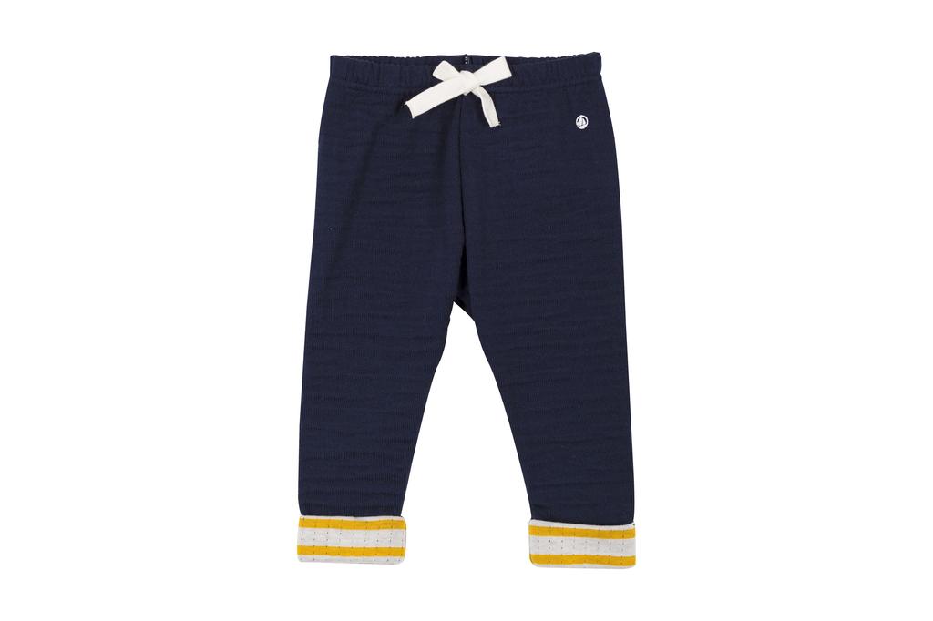 Petit Bateau FW Pantalon bleu bordure jaune/ blue trouser with yellow strips