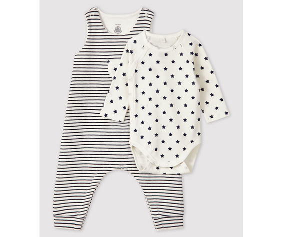 Petit Bateau FW20 Ensemble body et salopette bleu et blanc / White and blue long suit