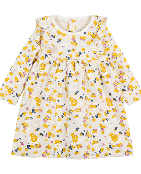 FW20 Robe manches longues fleurie jaune et rose/Long sleeved floral pink and yellow dress