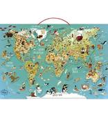 Vilac Carte du Monde Magnétique de Vilac - World map puzzle made of wood featuring magnetic wooden pieces. French Version
