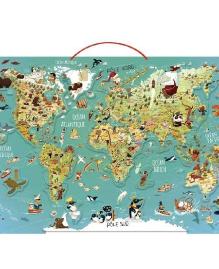Carte du Monde Magnétique de Vilac - World map puzzle made of wood featuring magnetic wooden pieces. French Version
