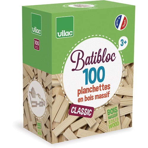 Vilac Planchette en Bois Massif 100 pièces de Vilac - Wood Set 100 pcs 3+