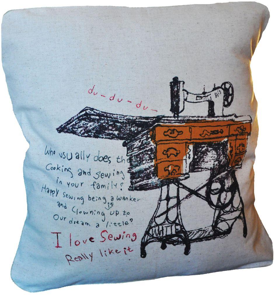 lili graffiti Coussin en Coton Beige avec Machine à Coudre, Lili Graffiti