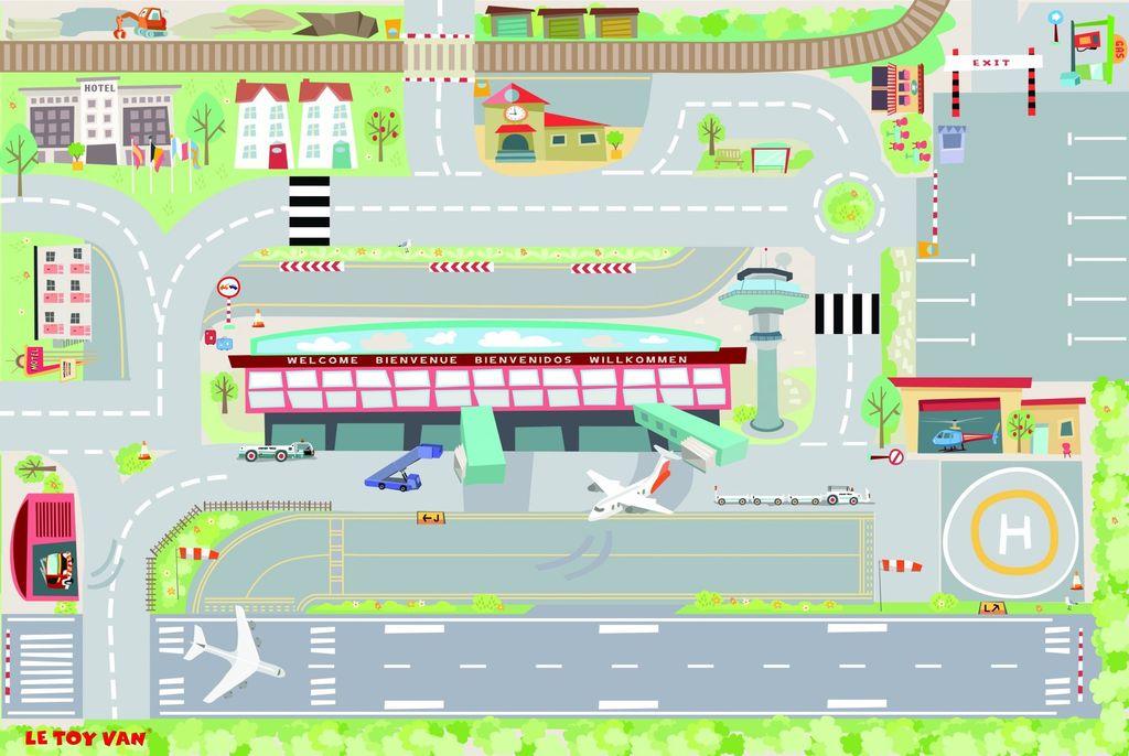 Le Toy Van Tapis de Jeu Aéroport de Toy Van/Airport Playmat-80x120 cm