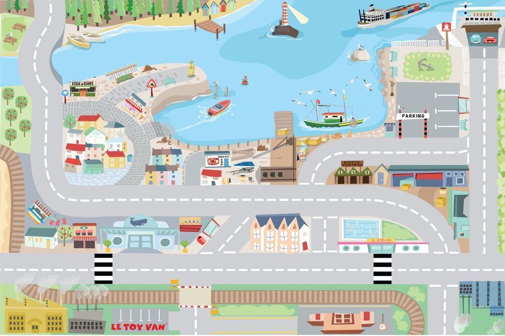 Le Toy Van Tapis de Jeu Portuaire de Toy Van/Harbour Playmat-80x120 cm