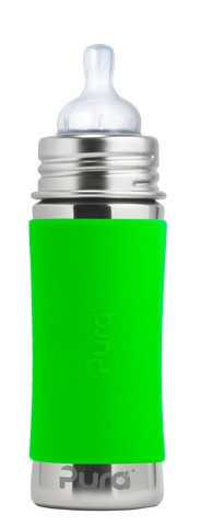 Pura kiki Biberon en acier inoxydable Pura Kiki - Lime - Infant Bottle 11 oz Spring Green