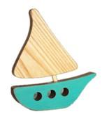 Atelier Saint-Cerf Bateau en Bois Recyclé d'Atelier Saint-Cerf/ Wooden Boat-Turquoise