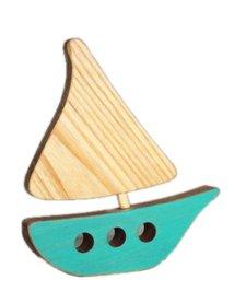 Bateau en Bois Recyclé d'Atelier Saint-Cerf/ Wooden Boat-Turquoise