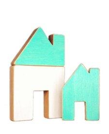 Maison en Bois Recyclé d'Atelier Saint-Cerf/ Wooden House-Blanc et Turquoise