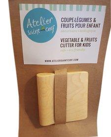 Coupe-Légumes & Fruits Sécuritaire pour Enfants en Bois d'Atelier Saint-Cerf/ Vegetable & Fruit Cutter for Kids
