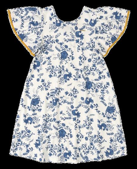 SS21 Robe Fleurs Bleues avec Manches Courtes Ornées de Pompons Mourtarde de UpBaby - Floral Dress by UpBaby