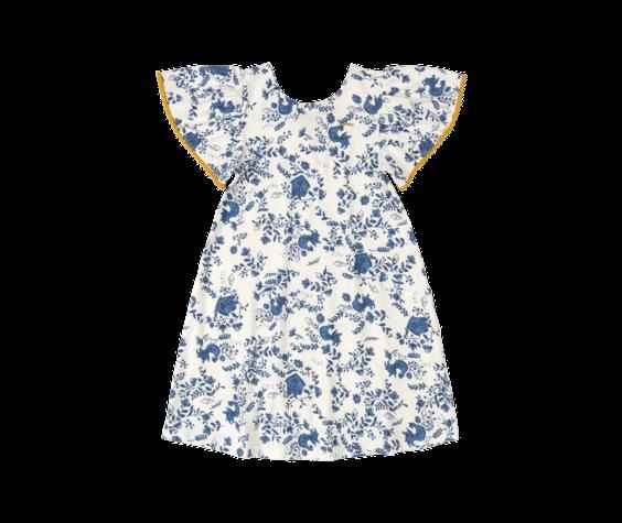 Up Baby SS21 Robe Fleurs Bleues avec Manches Courtes Ornées de Pompons Mourtarde de UpBaby - Floral Dress by UpBaby