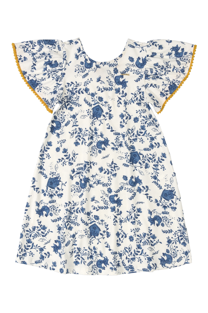 Up Baby SS21 Robe Fleurs Bleues avec Manches Courtes Ornées de Pompons Mourtarde de UpBaby - Floral Dress by UpBaby