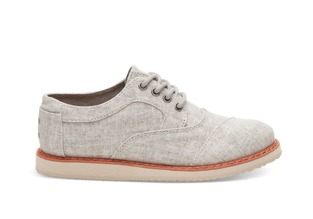 TOMS SS17 Chaussures Toms Shoes - Brogue Drizzle Grey Coated Linen