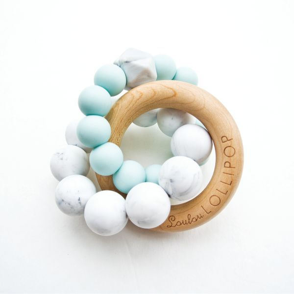Loulou Lollipop Anneaux de Dentition en silicone et bois Bleu/ Blue Silicone and Wood Teether de Loulou Lollipop