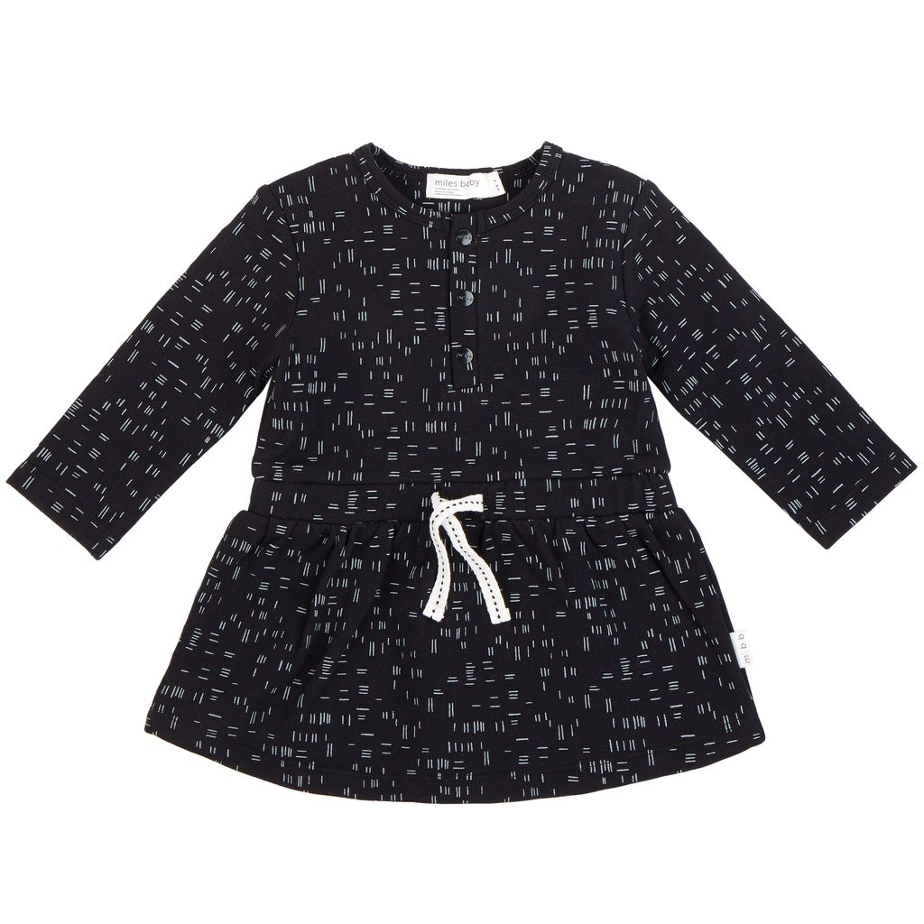 Miles Baby FW18 Robe Manches Longues, Motifs Traits Blancs - Miles Baby